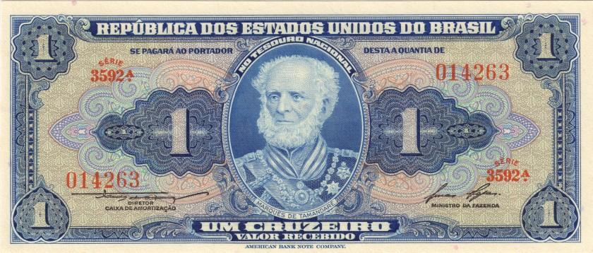 Brazil P150d 1 Cruzeiro 1954-1958 UNC