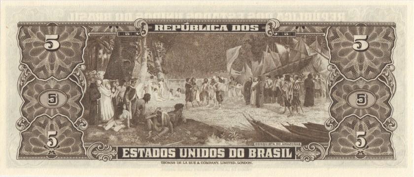 Brazil P158b 5 Cruzeiros 1953-1959 UNC