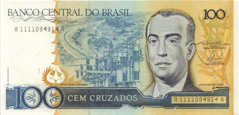 Brazil P211a 100 Cruzados 1986-1988 UNC