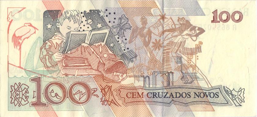 Brazil P220b 100 Cruzados Novos 1989 XF