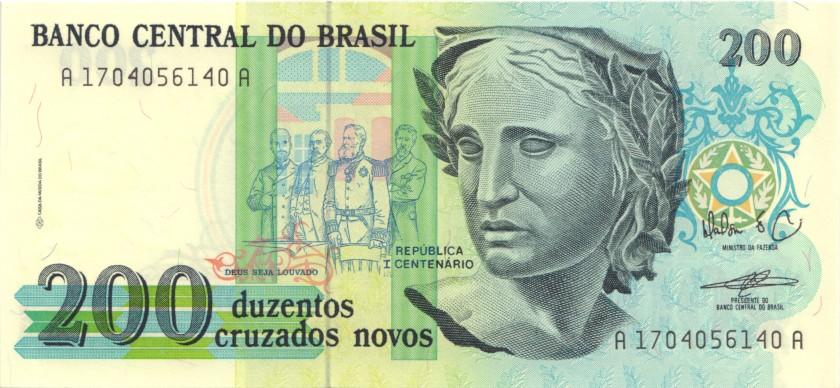 Brazil P221 200 Cruzados Novos 1989 UNC
