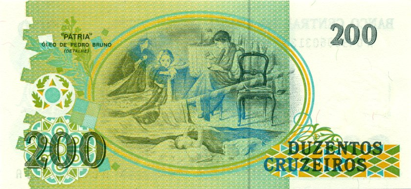 Brazil P229 200 Cruzeiros 1990 UNC