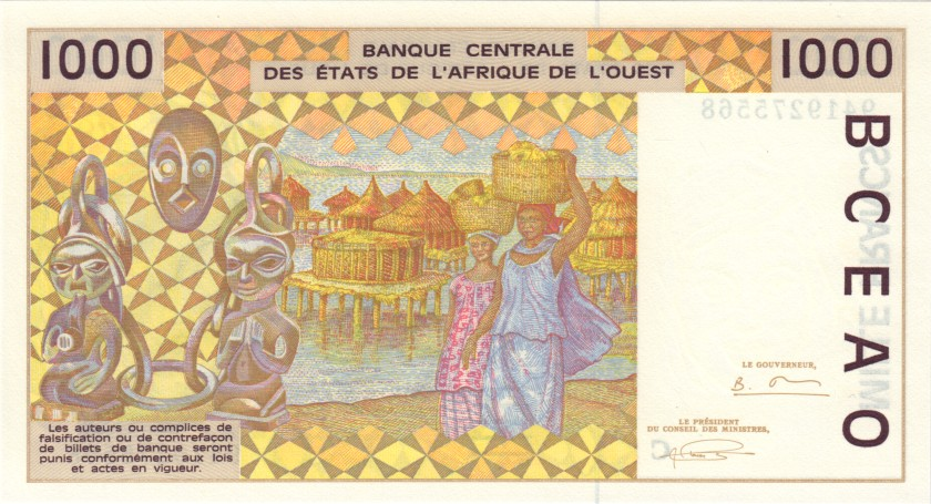 West African States Burkina Faso P311Ce 1.000 Francs 1994 UNC