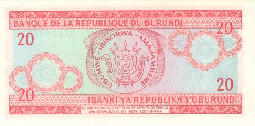 Burundi P27d 20 Francs / Amafranga 2001 UNC
