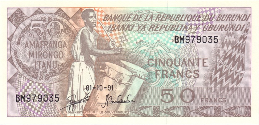 Burundi P28b 50 Francs / Amafranga 1991 UNC