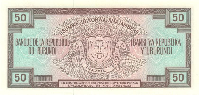 Burundi P28c 50 Francs / Amafranga 1993 UNC