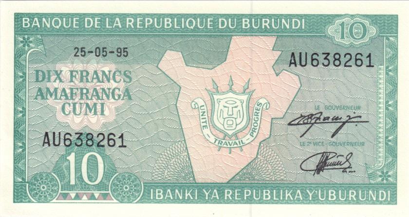 Burundi P33c 10 Francs / Amafranga 1995 UNC