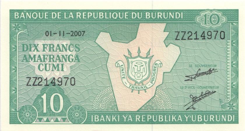 Burundi P33er REPLACEMENT 10 Francs / Amafranga 2007 UNC