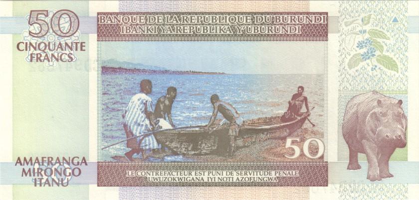 Burundi P36b 50 Francs / Amafranga 1999 UNC