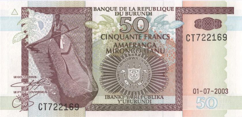 Burundi P36d 50 Francs / Amafranga 2003 UNC