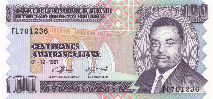 Burundi P37b 100 Francs / Amafranga 1997 UNC
