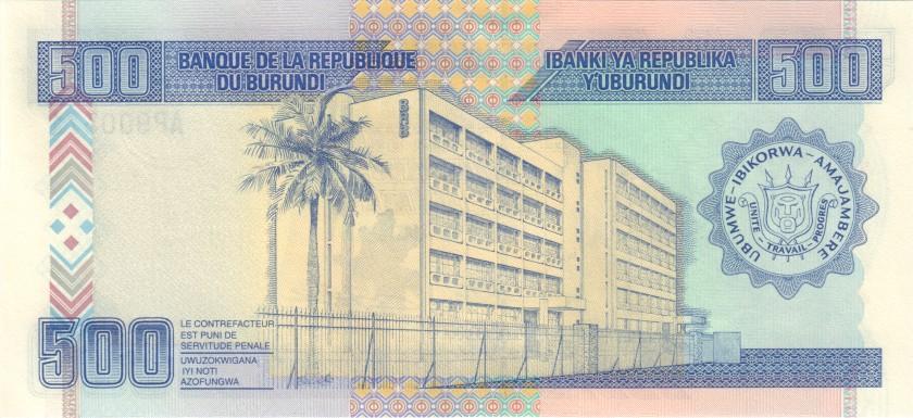 Burundi P38c 500 Francs / Amafranga 2003 UNC
