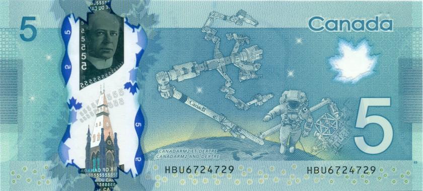 Canada P106b 5 Dollars 2013 UNC