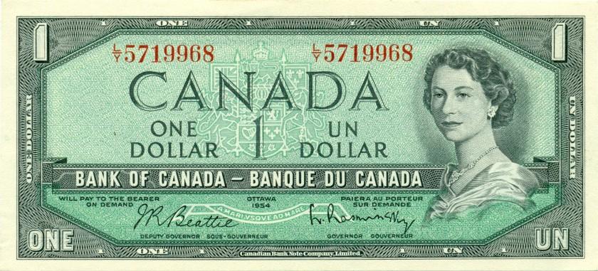 Canada P74b 1 Dollar 1954 UNC