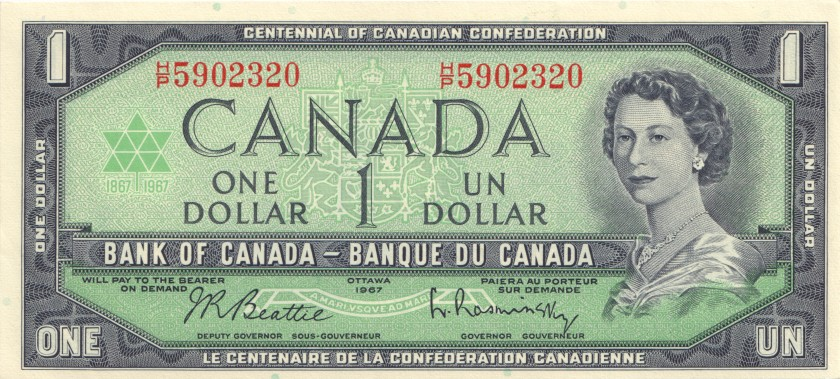 Canada P84b 1 Dollar 1967 UNC