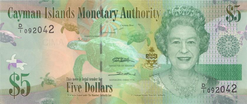 Cayman Islands P39a 5 Dollars 2010 UNC