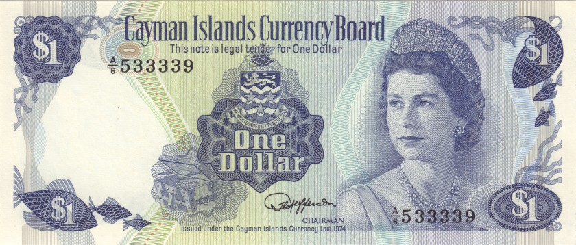 Cayman Islands P5e 1 Dollar 1974 UNC