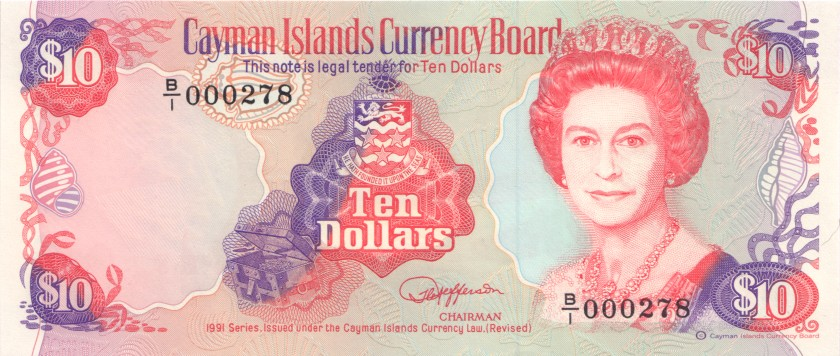 Cayman Islands P13a 10 Dollars 1991 UNC