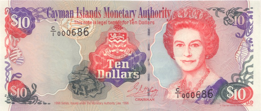 Cayman Islands P23 10 Dollars 1998 UNC