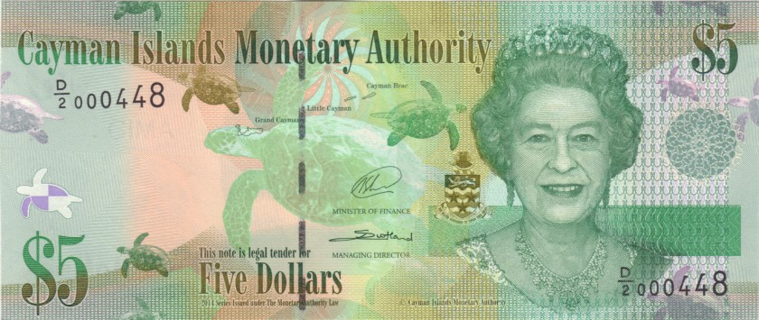 Cayman Islands P39b 000448 5 Dollars 2014 UNC