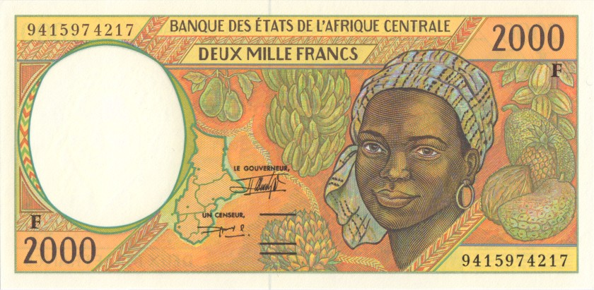Central African States Central African Republic P303Fb 2.000 Francs 1994 UNC