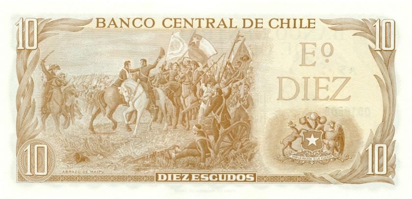 Chile P143(1) 10 Escudos 1967-1975 UNC