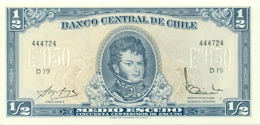 Chile P134Aa(1) ½ Escudo (50 Centésimos) UNC