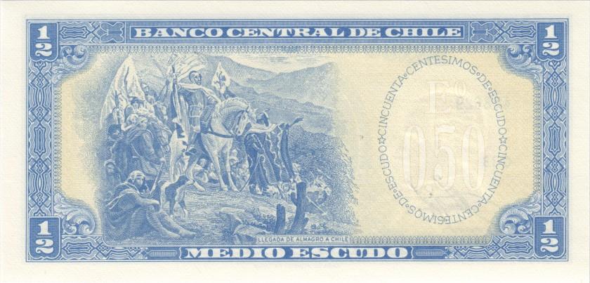 Chile P134Aa(3-1) ½ Escudo (50 Centésimos) 1960 UNC