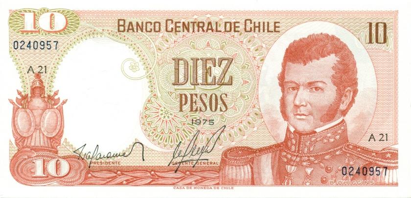 Chile P150a 10 Pesos 1975 UNC