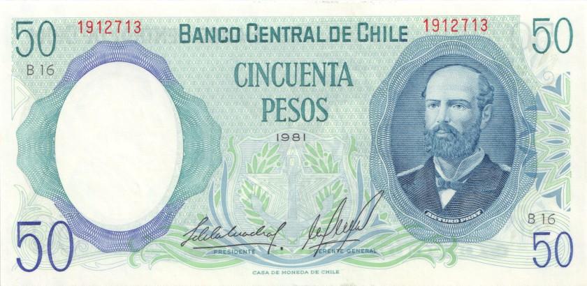 Chile P151b(2) 50 Pesos 1981 UNC
