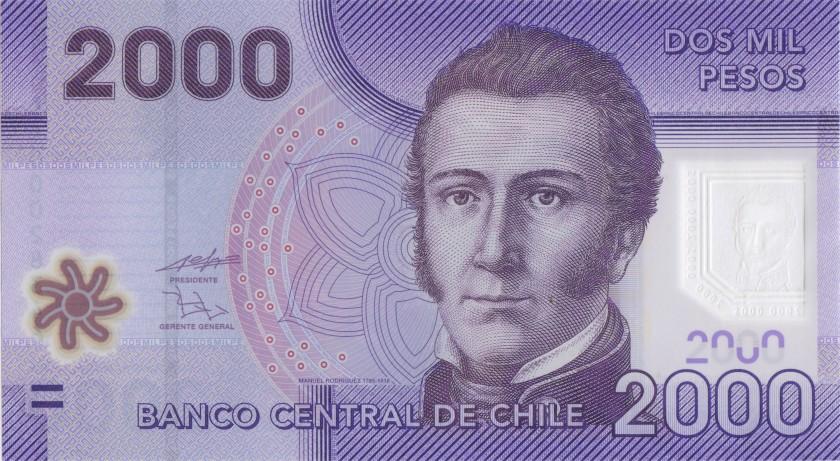 Chile P162a 2.000 Pesos 2009 UNC