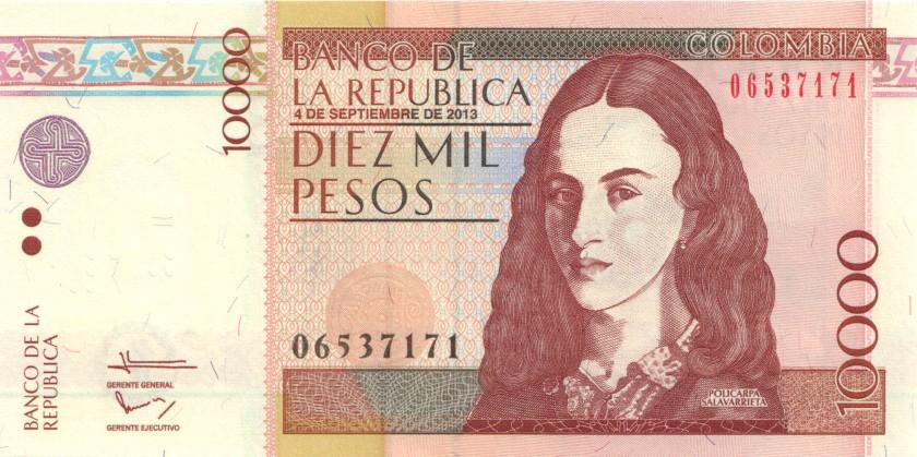 Colombia P453q 10.000 Pesos 2013 UNC
