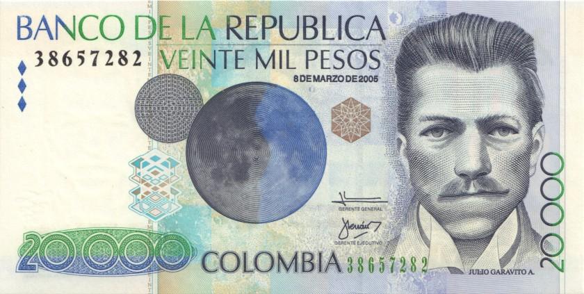 Colombia P454j 20.000 Pesos 2005 UNC