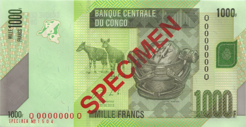 Congo Democratic Republic P101bs SPECIMEN 1.000 Francs 2013 UNC