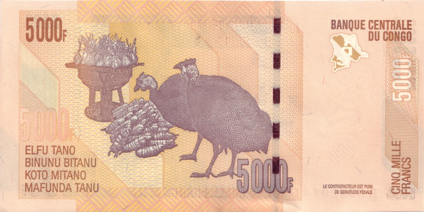 Congo Democratic Republic P102b 5.000 Francs 2013 UNC