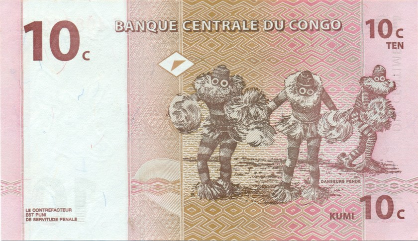 Congo Democratic Republic P82 10 Centimes 1997 UNC