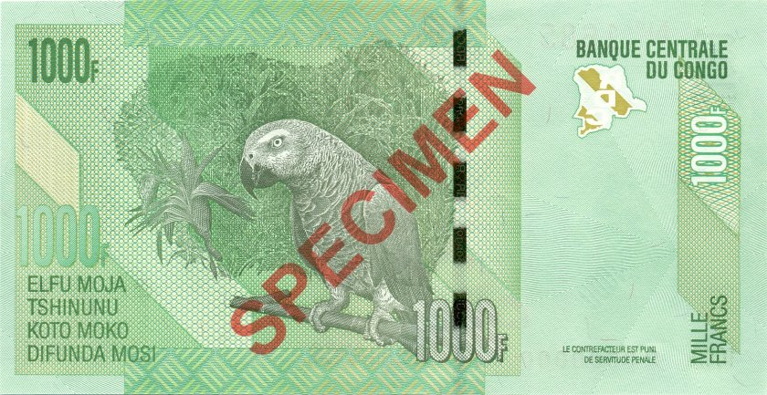 Congo Democratic Republic P101a SPECIMEN 1.000 Francs 2012 (2005) UNC
