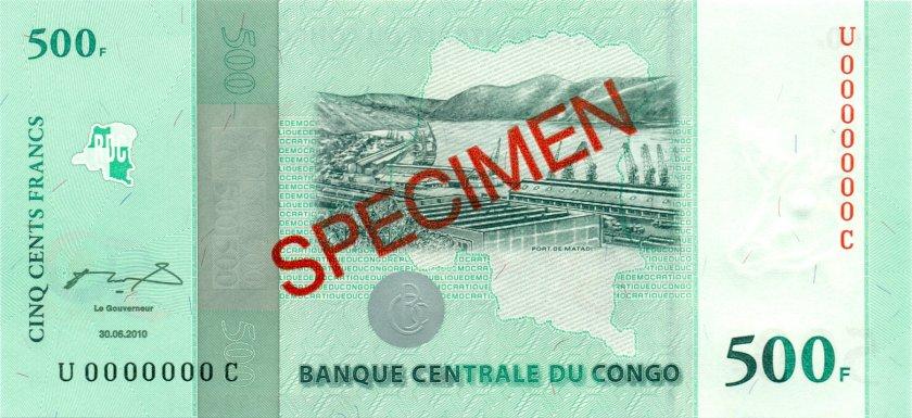 Congo Democratic Republic P100 SPECIMEN 500 Francs 2010 UNC