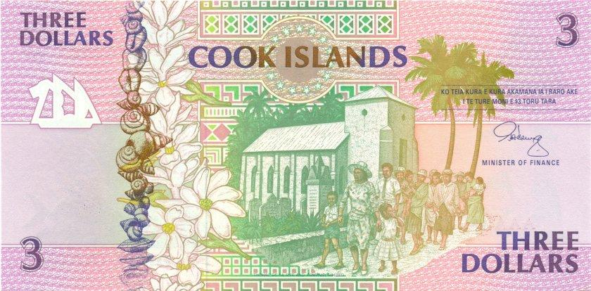 Cook Islands P7 3 Dollars 1992 UNC