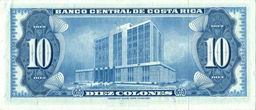 Costa Rica P230b 10 Colones 1970