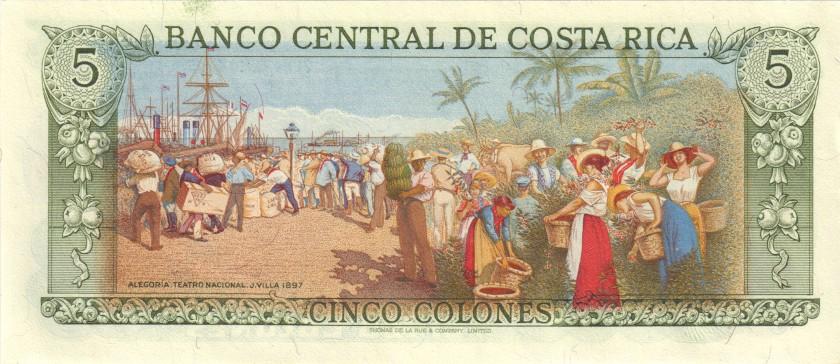 Costa Rica P236e 5 Colones 1990 UNC