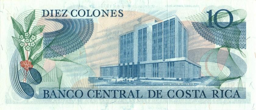 Costa Rica P237a 10 Colones 1972 UNC