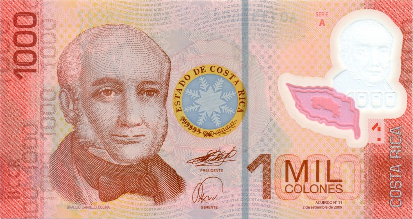 Costa Rica P274a 1.000 Colones 2009 UNC