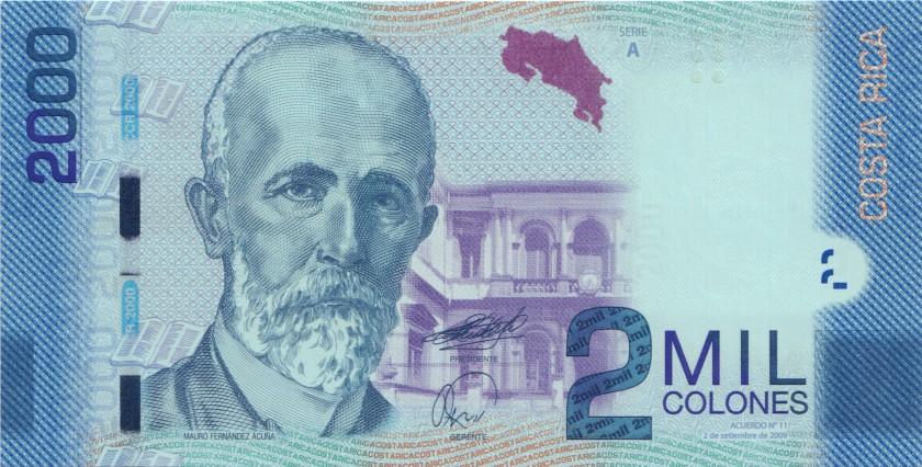 Costa Rica P275a 2.000 Colones 2009 UNC