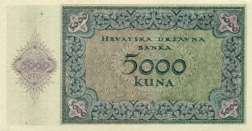 Croatia P14a 5.000 Kuna 1943 UNC