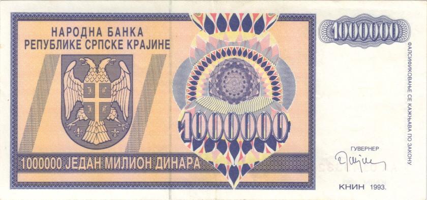 Croatia PR10 1.000.000 Dinara 1993 XF