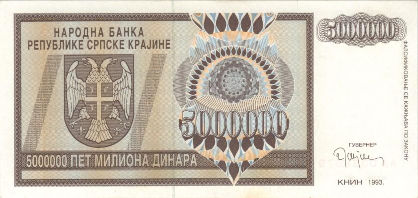 Croatia PR11 5.000.000 Dinara 1993 XF