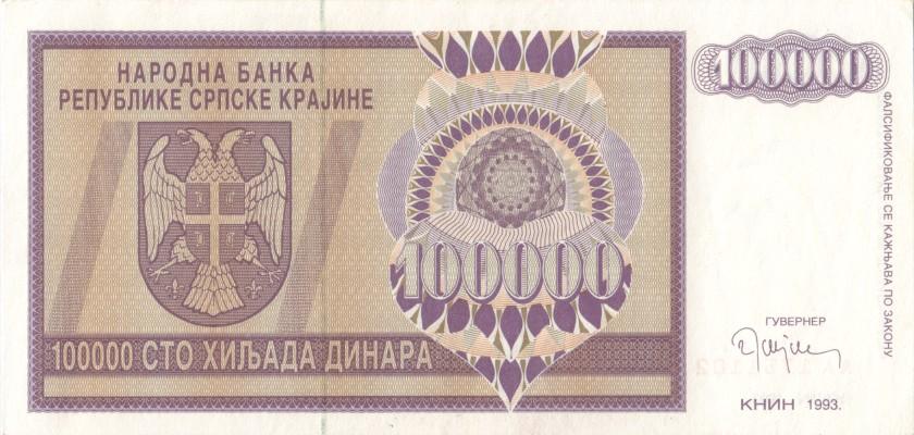 Croatia PR9 100.000 Dinara 1993 XF