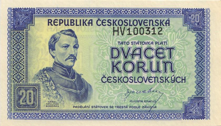 Czechoslovakia P61 20 Czechoslovak Korun 1945 UNC