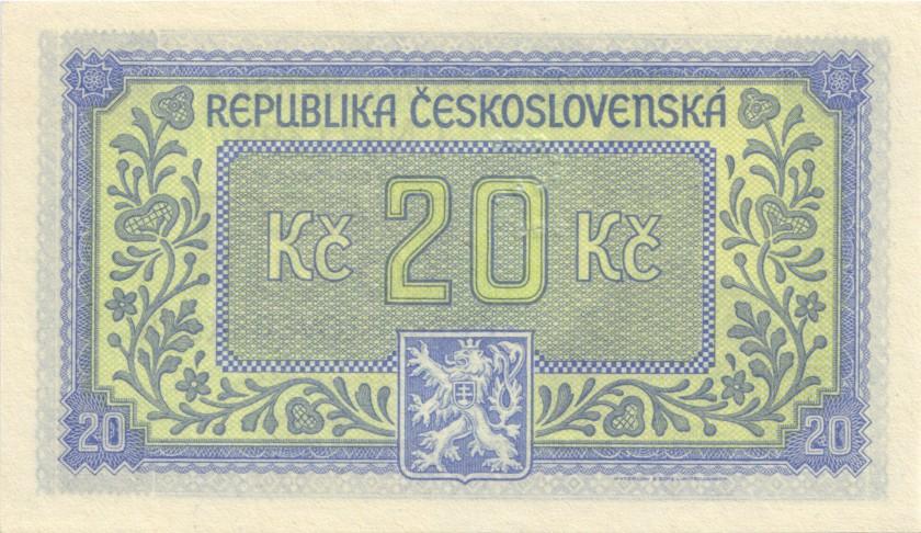Czechoslovakia P61s SPECIMEN 20 Czechoslovak Korun 1945 UNC